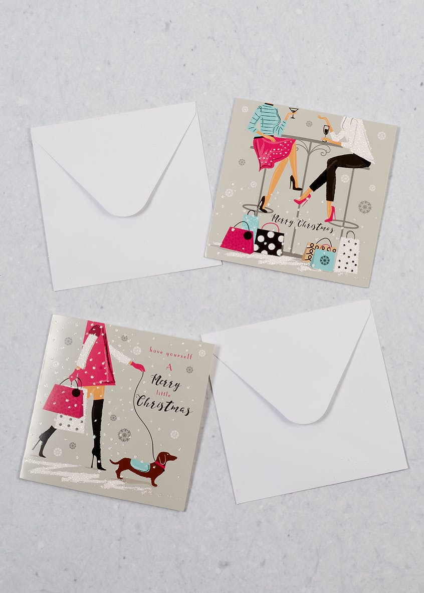 16 Pack Shopping Ladies Christmas Cards