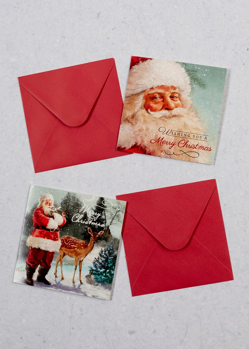 16 Pack Traditional Santa Christmas Cards