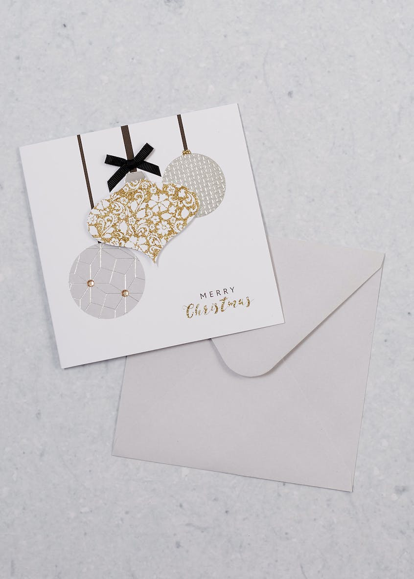 6 Pack Luxury 3D Baubles Christmas Cards