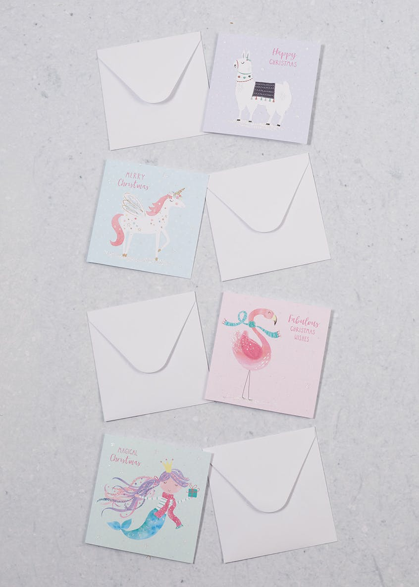 20 Pack Unicorn Llama Flamingo Mermaid Christmas Cards
