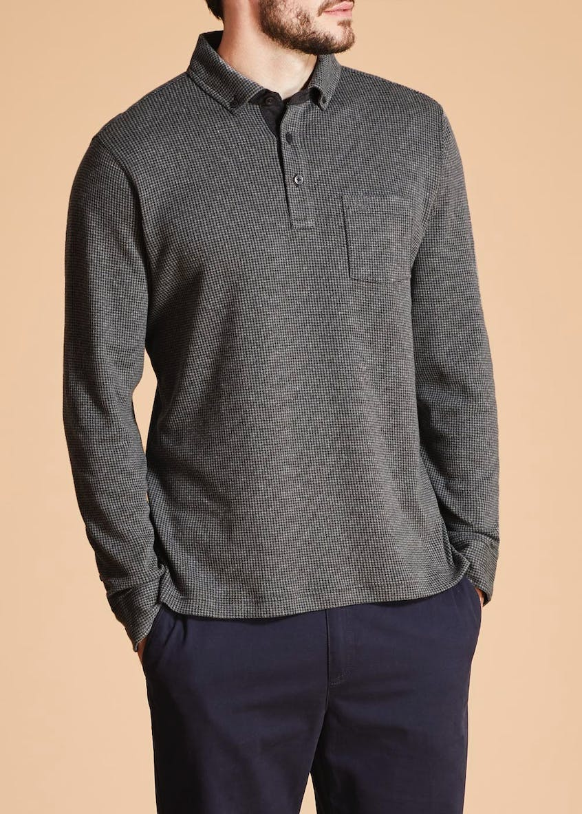 Lincoln Long Sleeve Houndstooth Polo Shirt