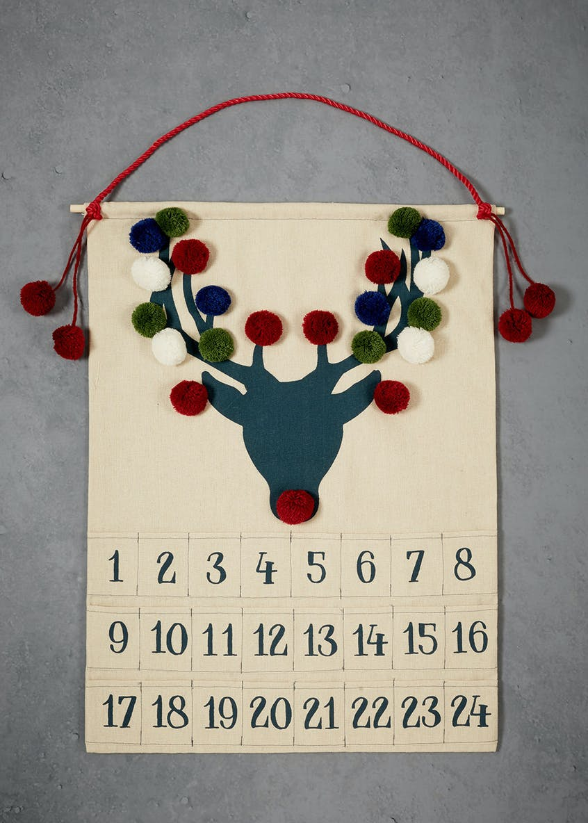 Fabric Reindeer Advent Calendar (57cm x 46cm)