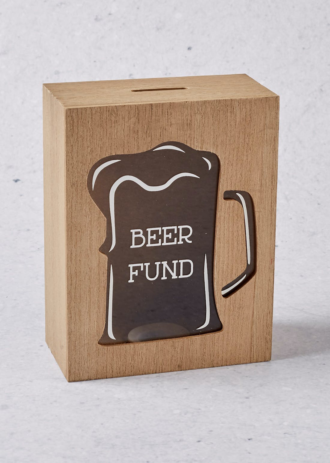 Beer Wooden Money Box (18cm x 14cm x 7cm)