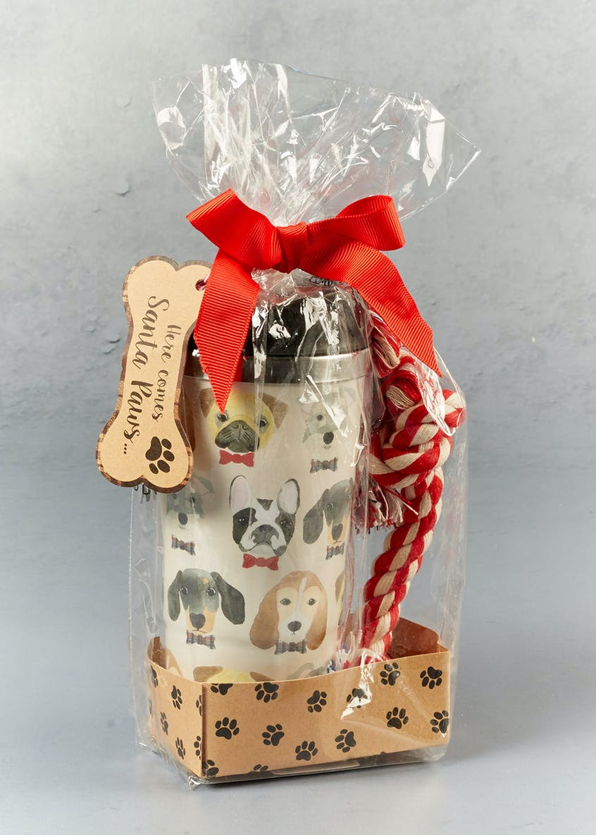 Dog Travel Mug & Pet Chew Toy Gift Set (18cm x 10cm x 7cm)