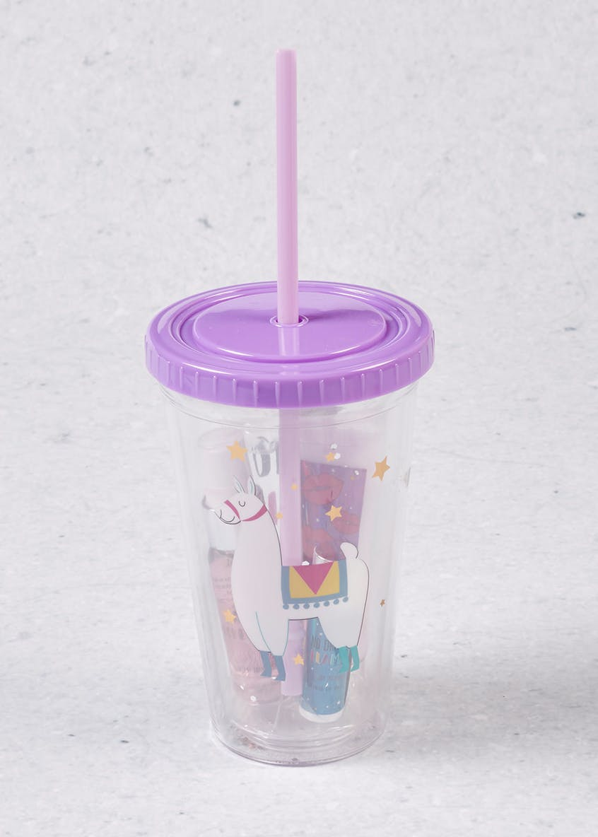 Llama Cup with Straw Gift Set (16cm x 10cm)