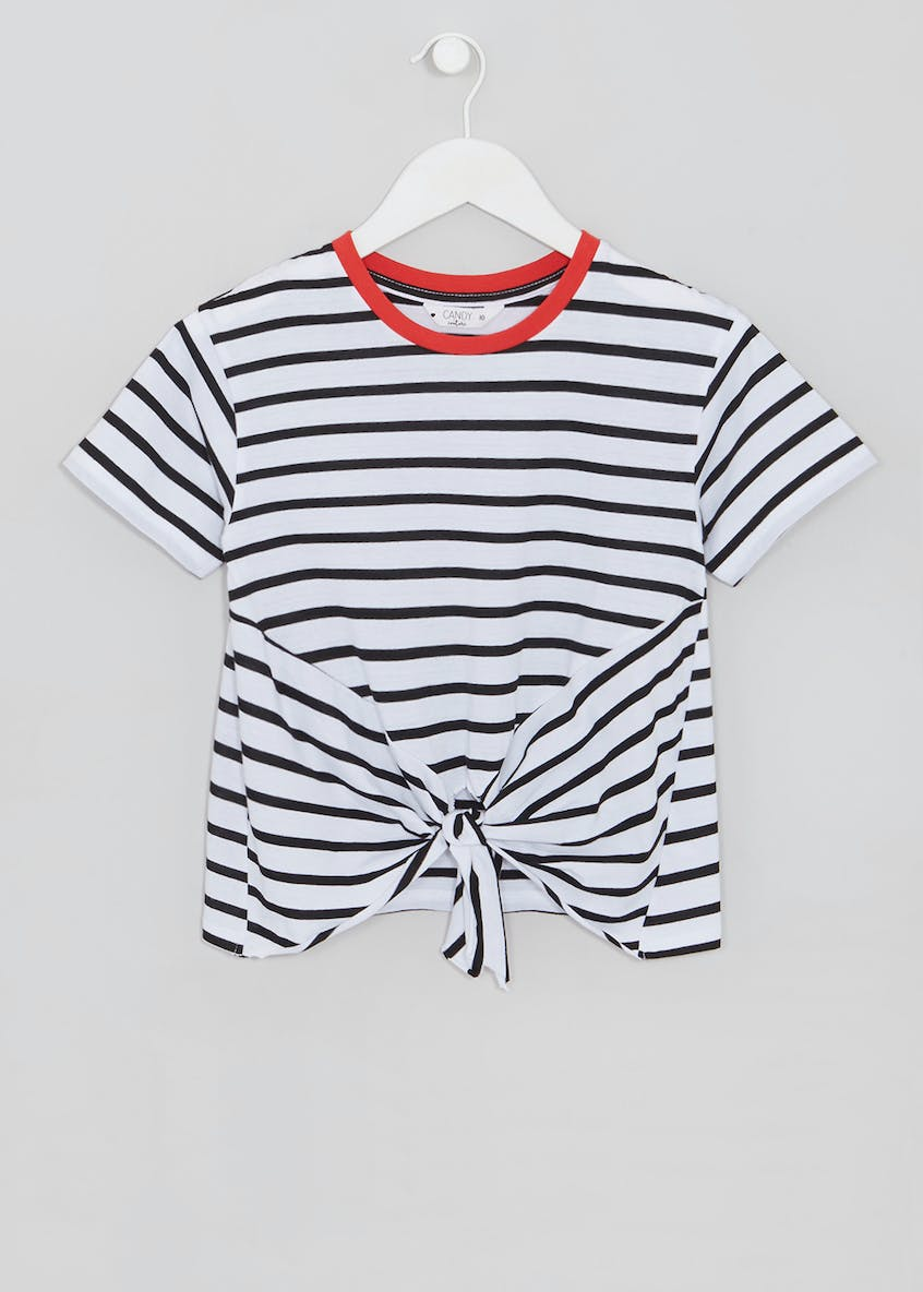 Girls Candy Couture Stripe Tie Front T-Shirt (9-16yrs)