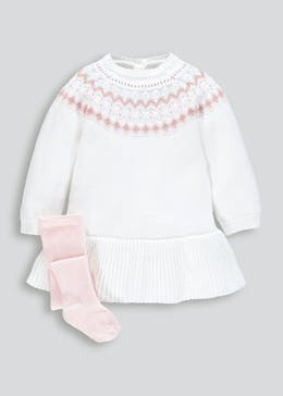 Girls Knitted Dress & Tights Set (Newborn-18mths)
