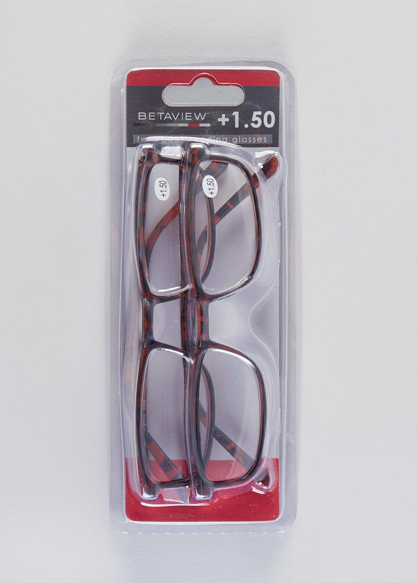 Unisex 2 Pack Tortoiseshell Reading Glasses (+1.50)