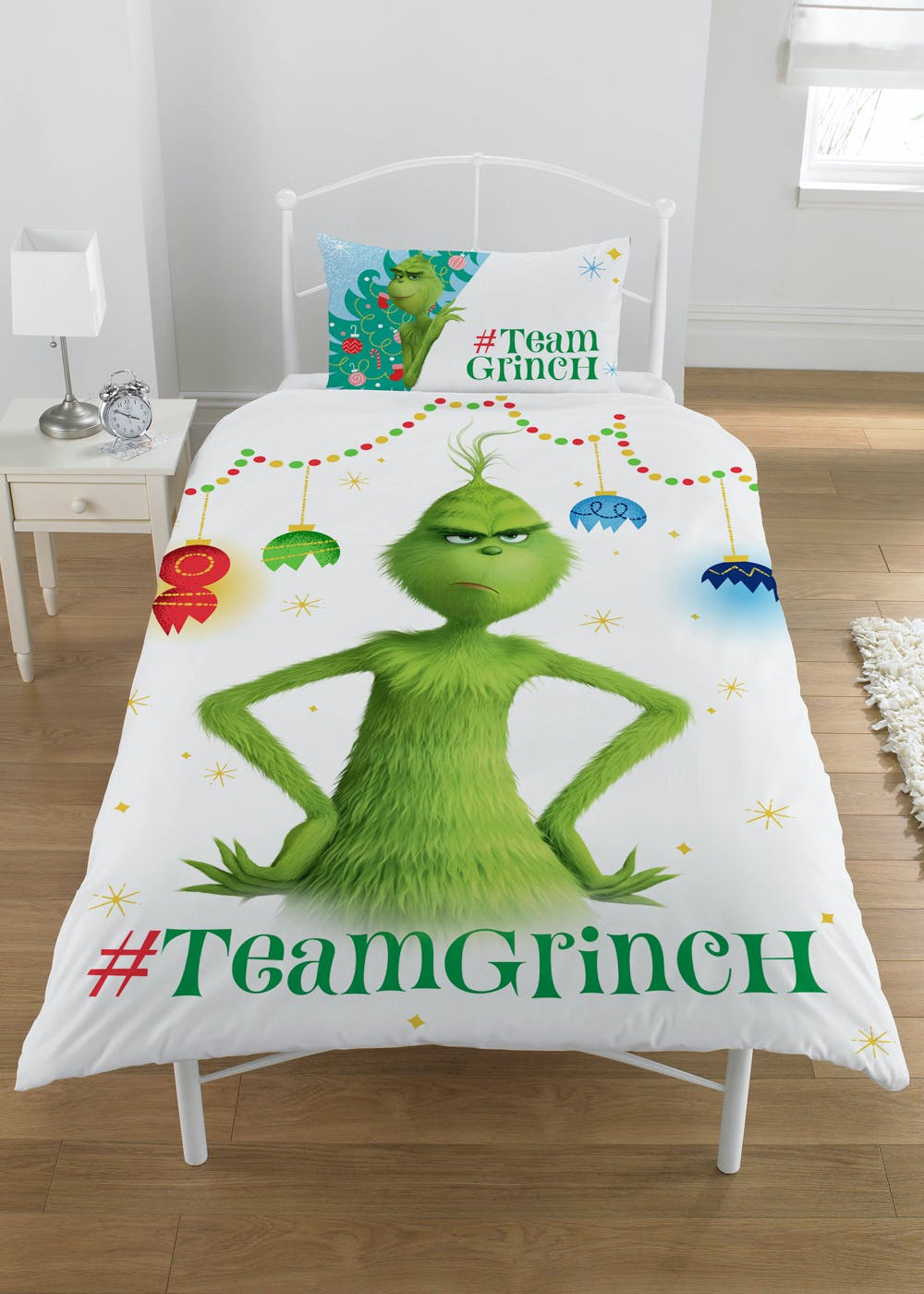 Kids The Grinch Christmas Bedding Set – White – Matalan