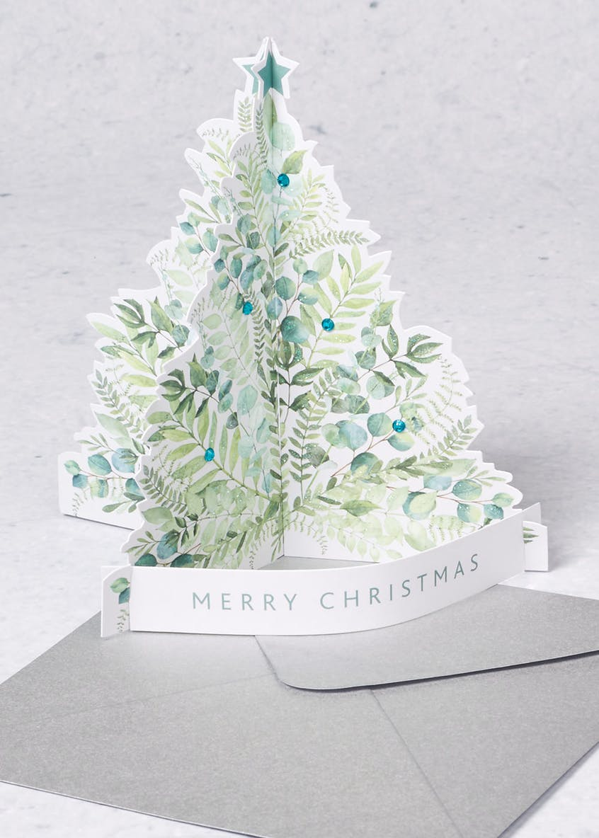 5 Pack Luxury 3D Christmas Tree Cards