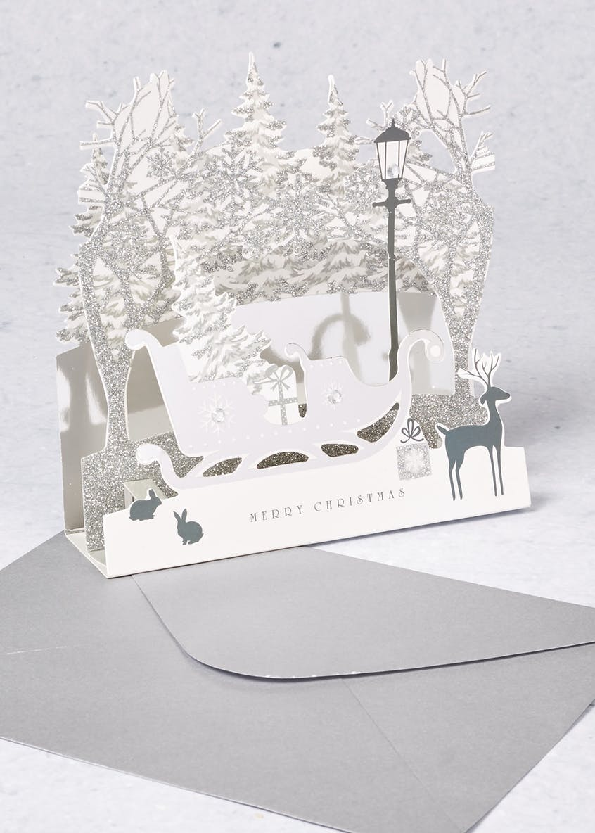 5 Pack Luxury 3D Snow Scene Christmas Cards