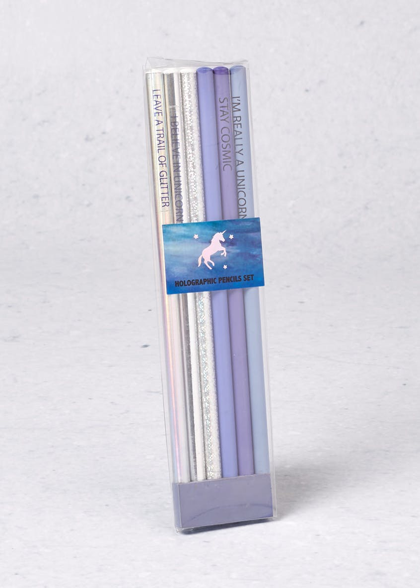 6 Pack Unicorn Holographic Pencils (20cm x 5cm x 1cm)
