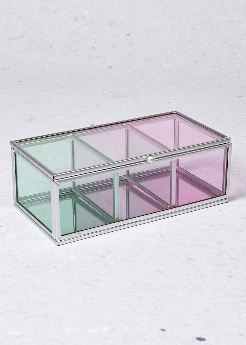 Glass Ombre Jewellery Box (18cm x 10cm x7cm)