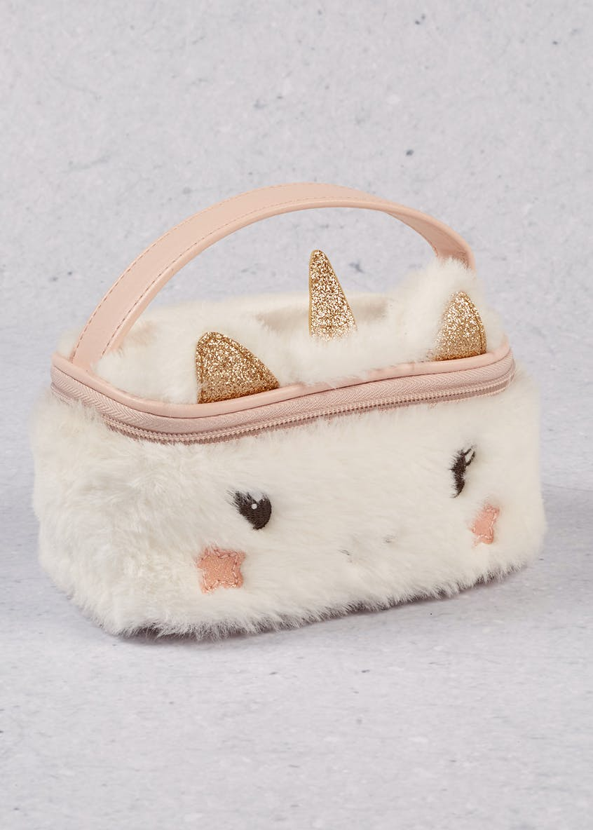 Fluffy Unicorn Cosmetic Bag (16cm x 11cm x 8cm)