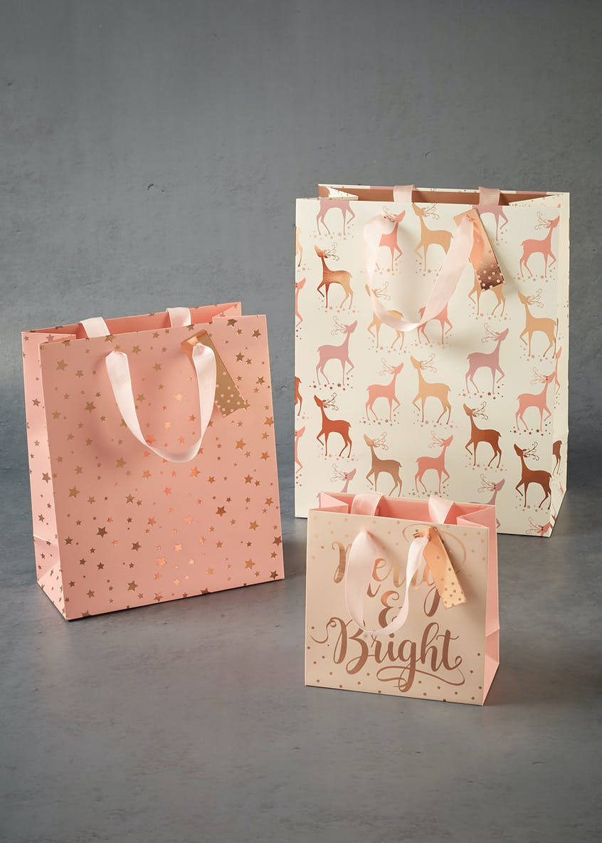3 Pack Pink Fizz Christmas Gift Bags