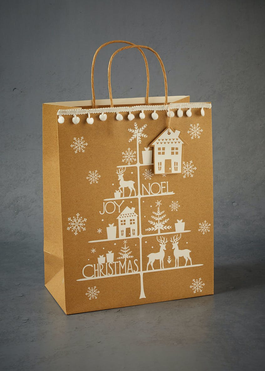Pom Pom Christmas Tree Gift Bag