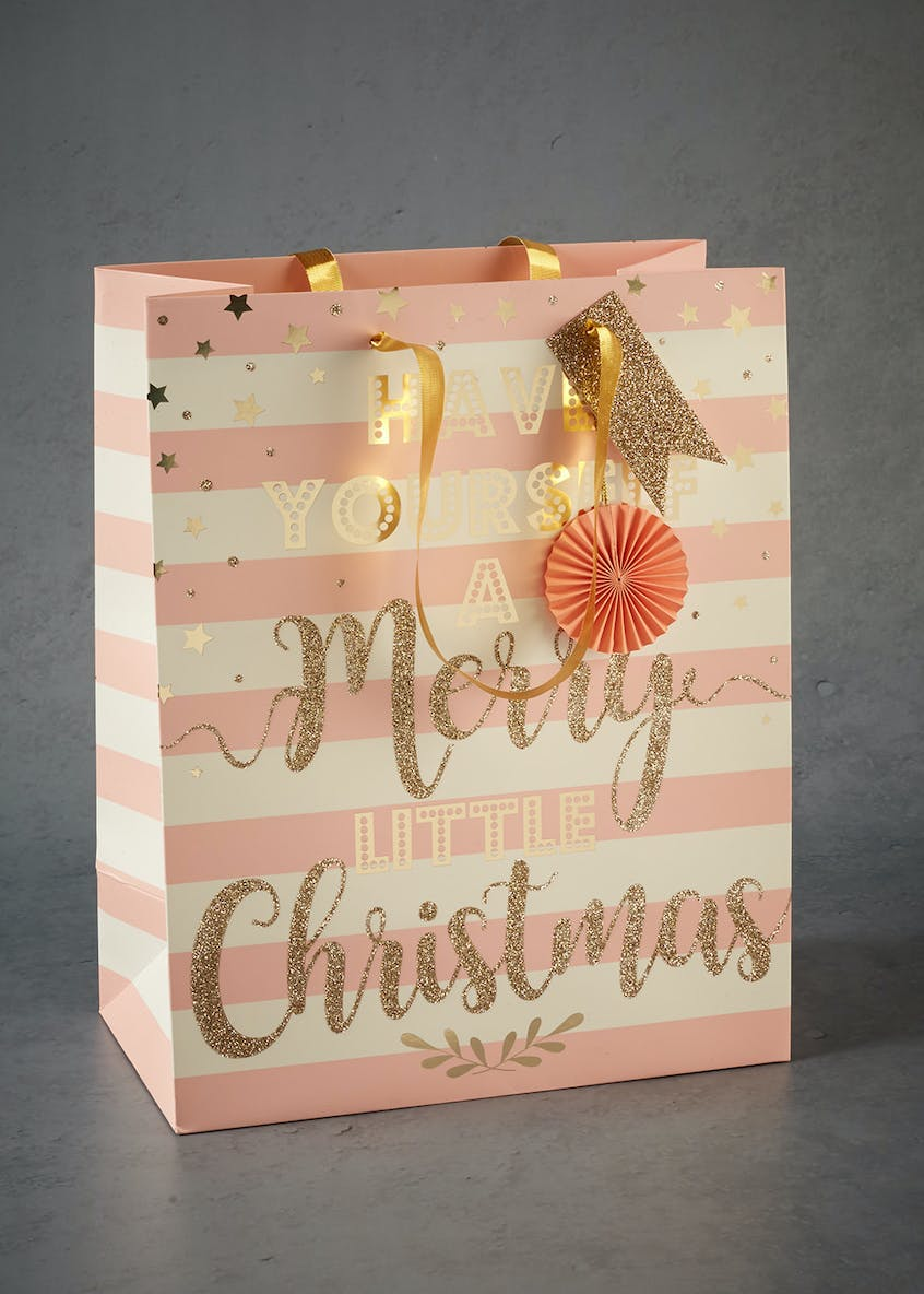 Stripe Glitter Christmas Gift Bag