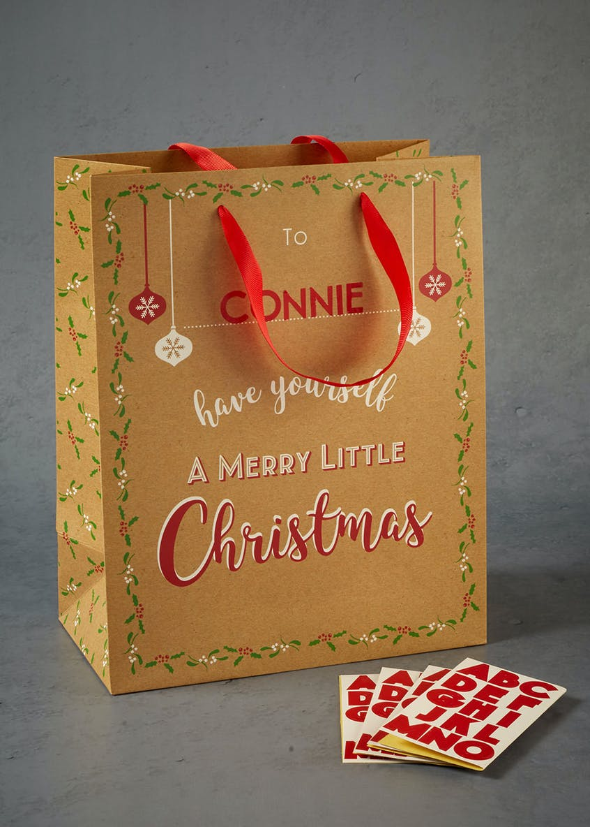 Personalised Sticker Christmas Gift Bag