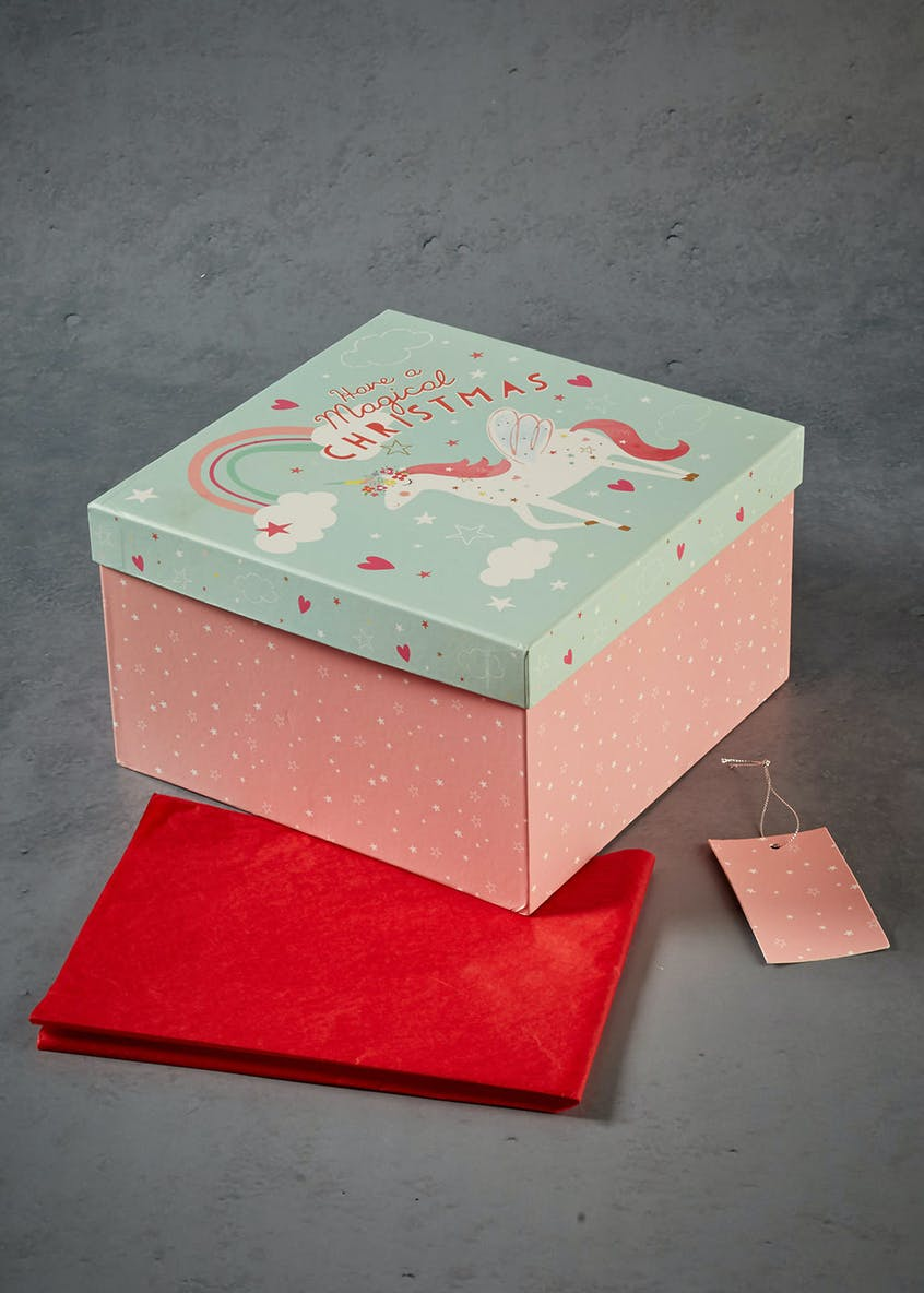 Unicorn Square Christmas Gift Box (25cm x 15cm)