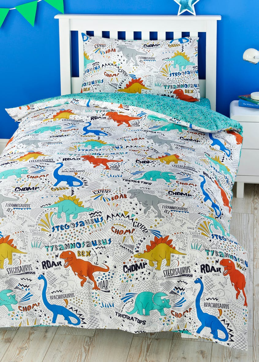 Toddler 100%  Cotton Dinosaur Duvet Cover (Small Bed)