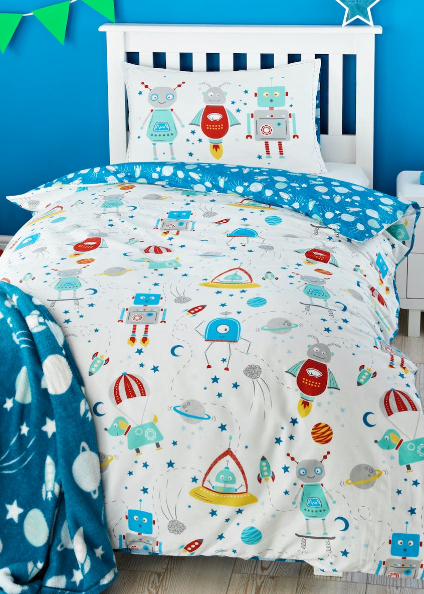 Toddler 100% Cotton Robot Duvet Cover (Small Bed)