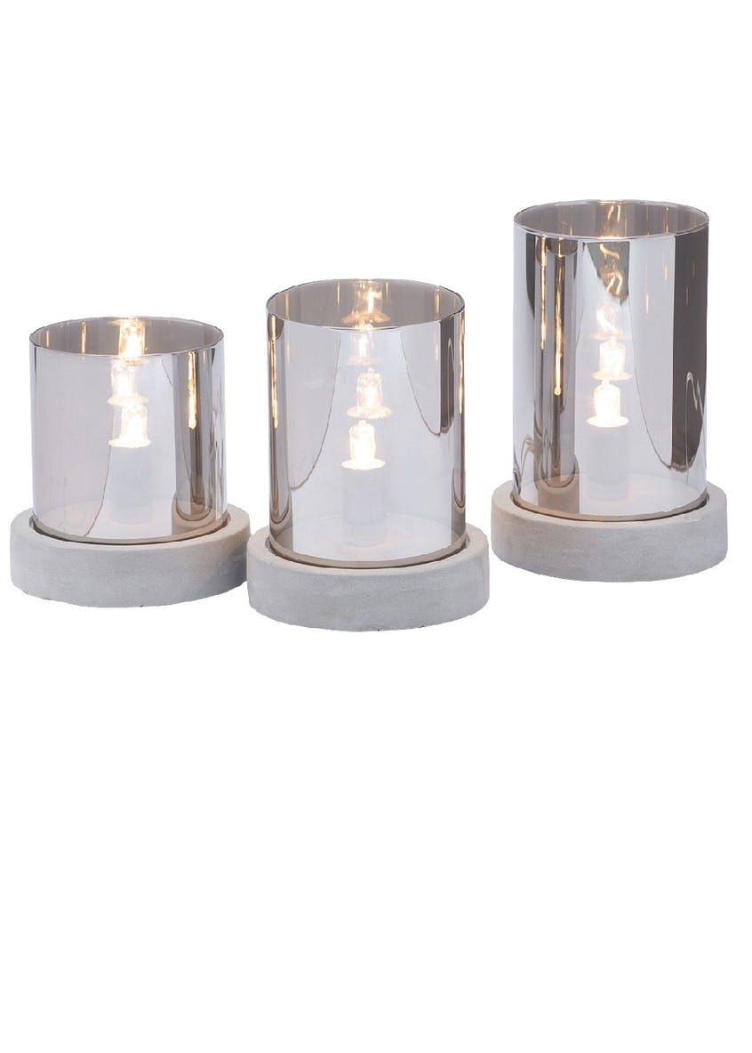 3 Pack Margo Light Smoked Glass Tealights