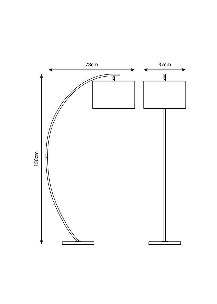 Ellis Curved Floor Lamp (H150cm x W37cm)