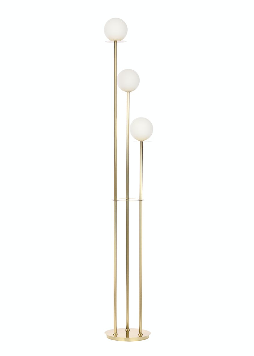 Stella Opal Glass Ball Floor Lamp (H162cm x W27cm)