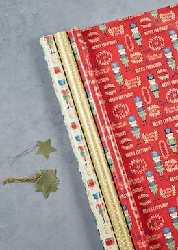 Nutcracker Christmas Wrapping Paper & Gift Tag Set
