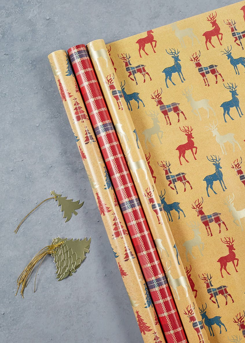 Tartan Stag Christmas Wrapping Paper & Gift Tag Set