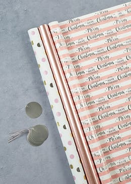 Stripe & Spot Christmas Wrapping Paper & Gift Tag Set