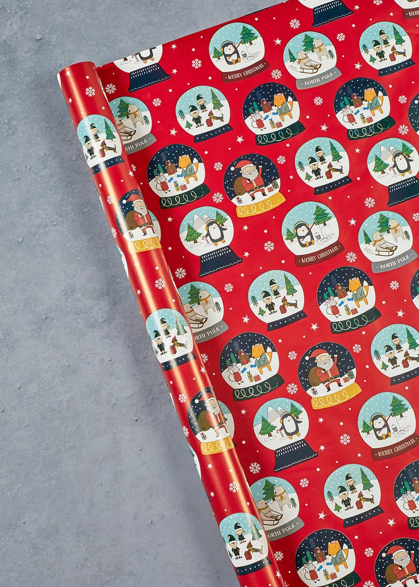 Snow Globe Christmas Wrapping Paper (6m)