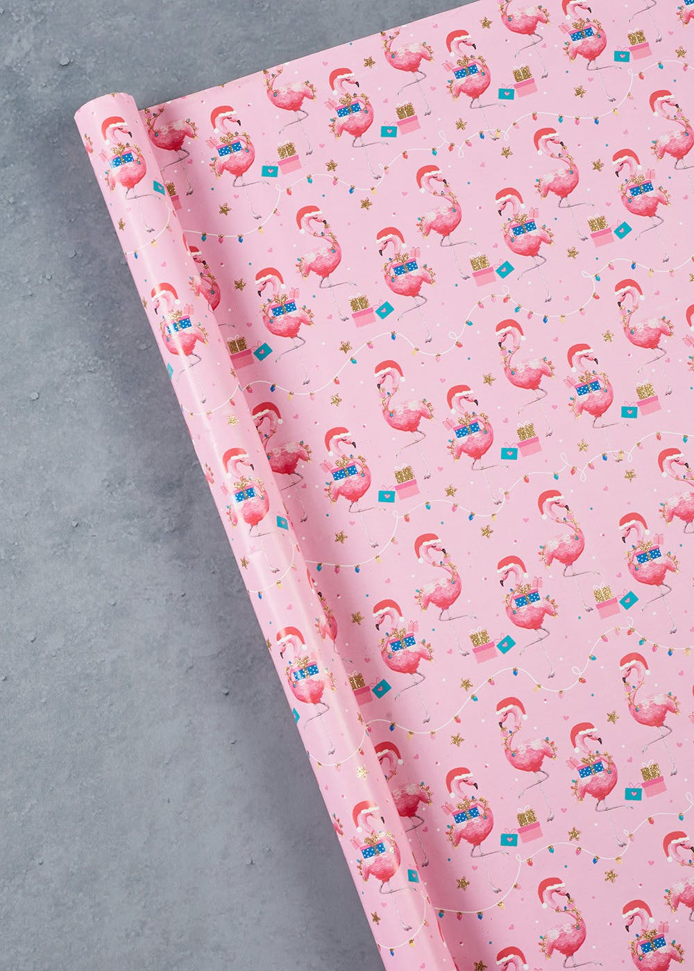 glitter flamingo christmas wrapping paper 3m - Pink Christmas Wrapping Paper