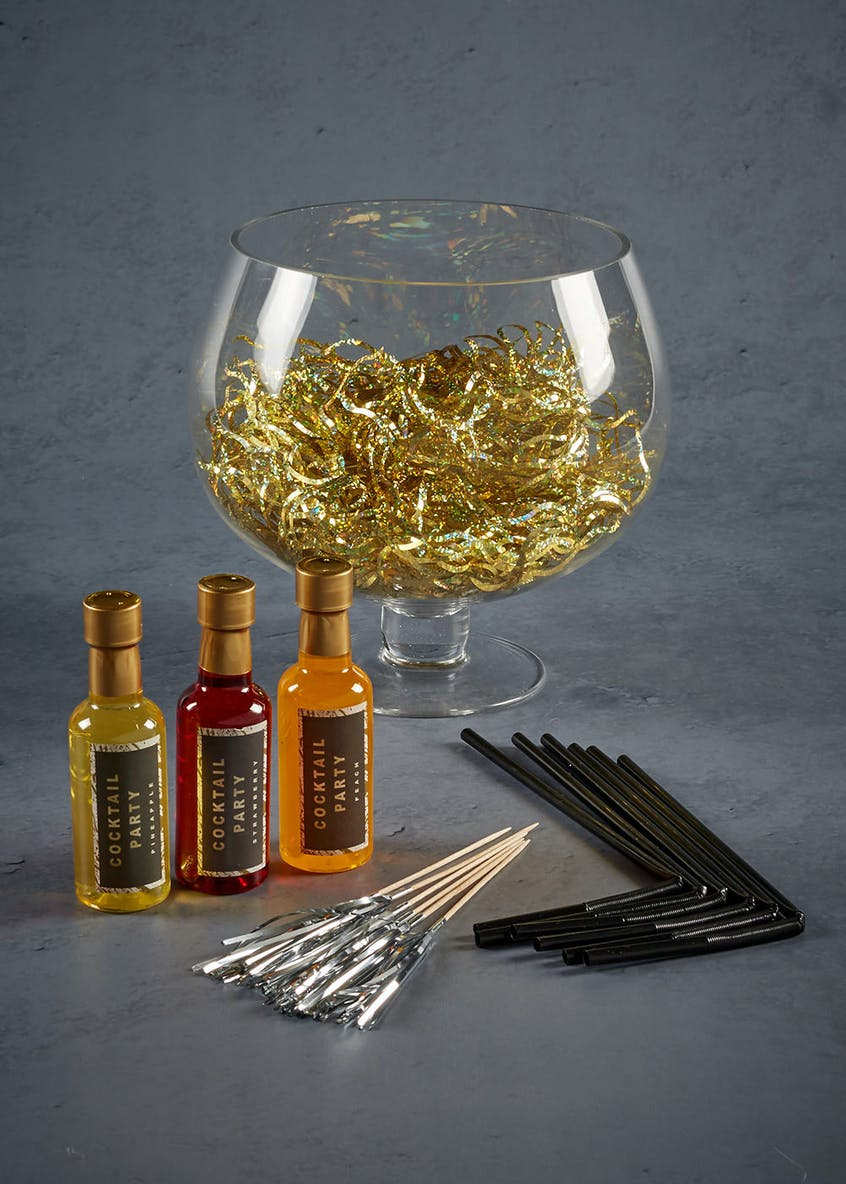Glass Cocktail Fishbowl with Mixers Straws & Decorations (20cm x 17cm)
