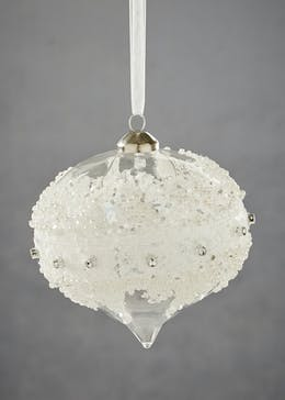 Lace & Diamante Christmas Tree Bauble (11cm)