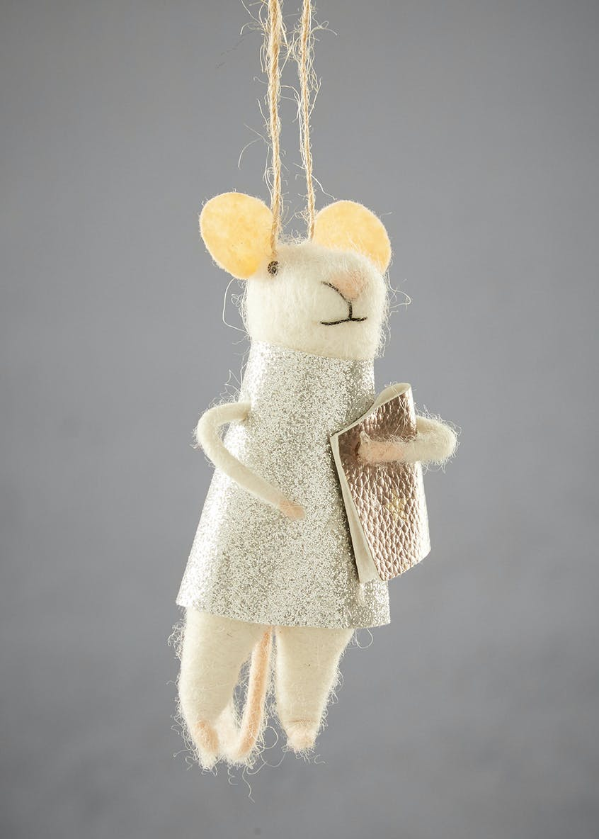 Felt Mrs Mouse Christmas Tree Decoration (11cm)