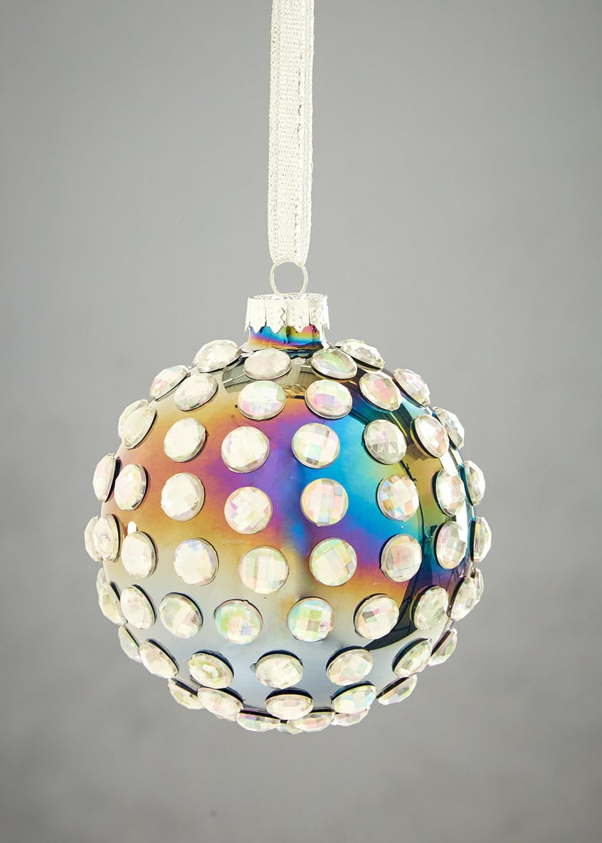 Iridescent Pearl Christmas Tree Bauble (10cm)