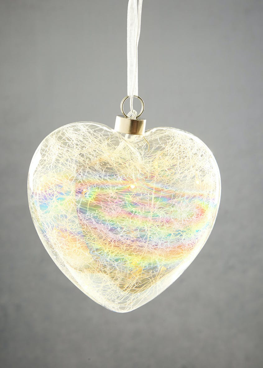 Hanging LED Iridescent Heart (16cm)