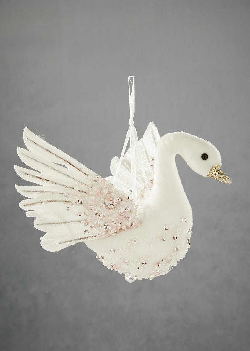 Beaded Swan Christmas Tree Decoration (24cm)