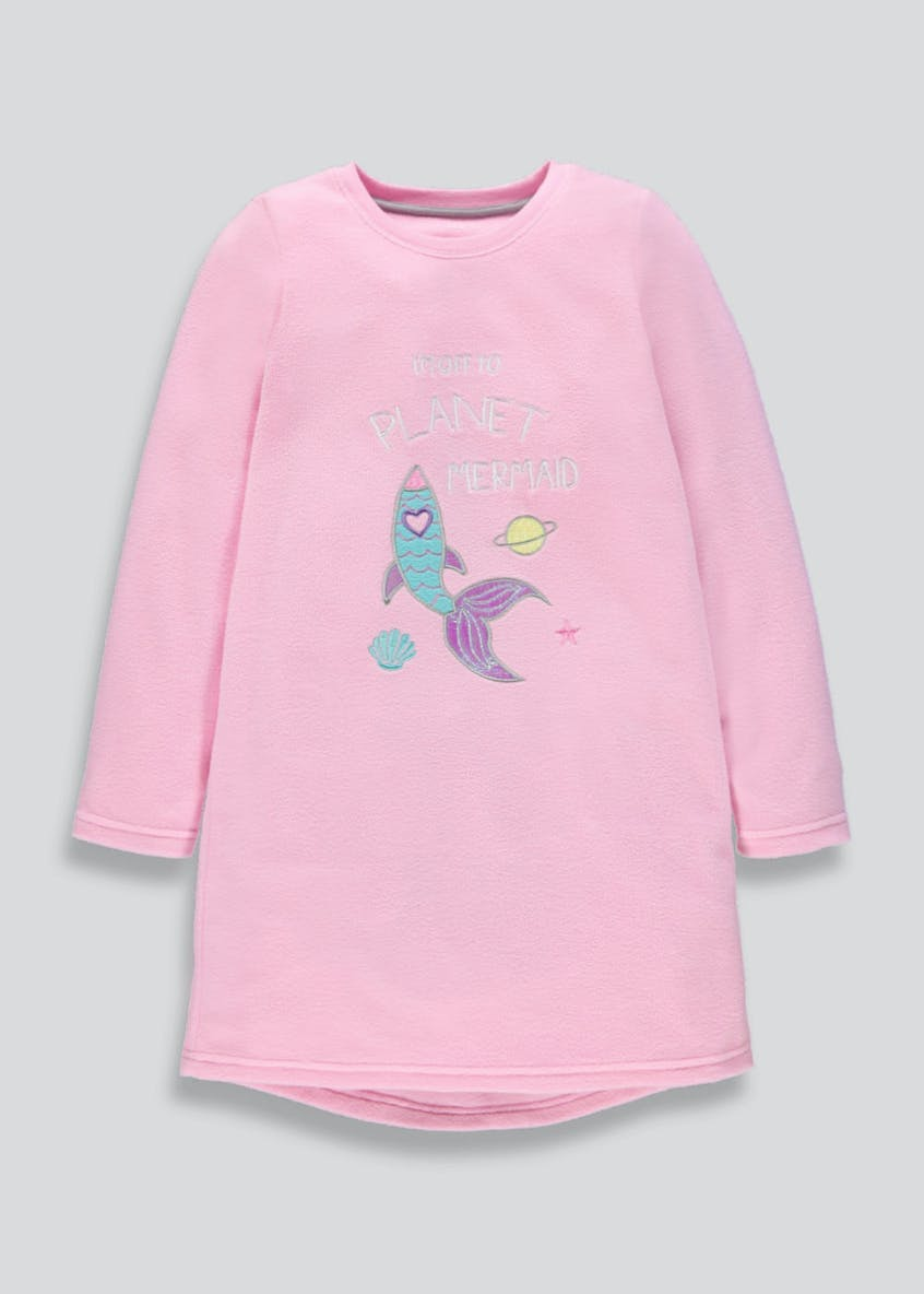 Girls Mermaid Fleece Nightie (4-13yrs)