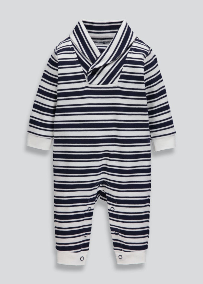 Unisex Stripe Shawl Collar Sleepsuit (Tiny Baby-18mths)