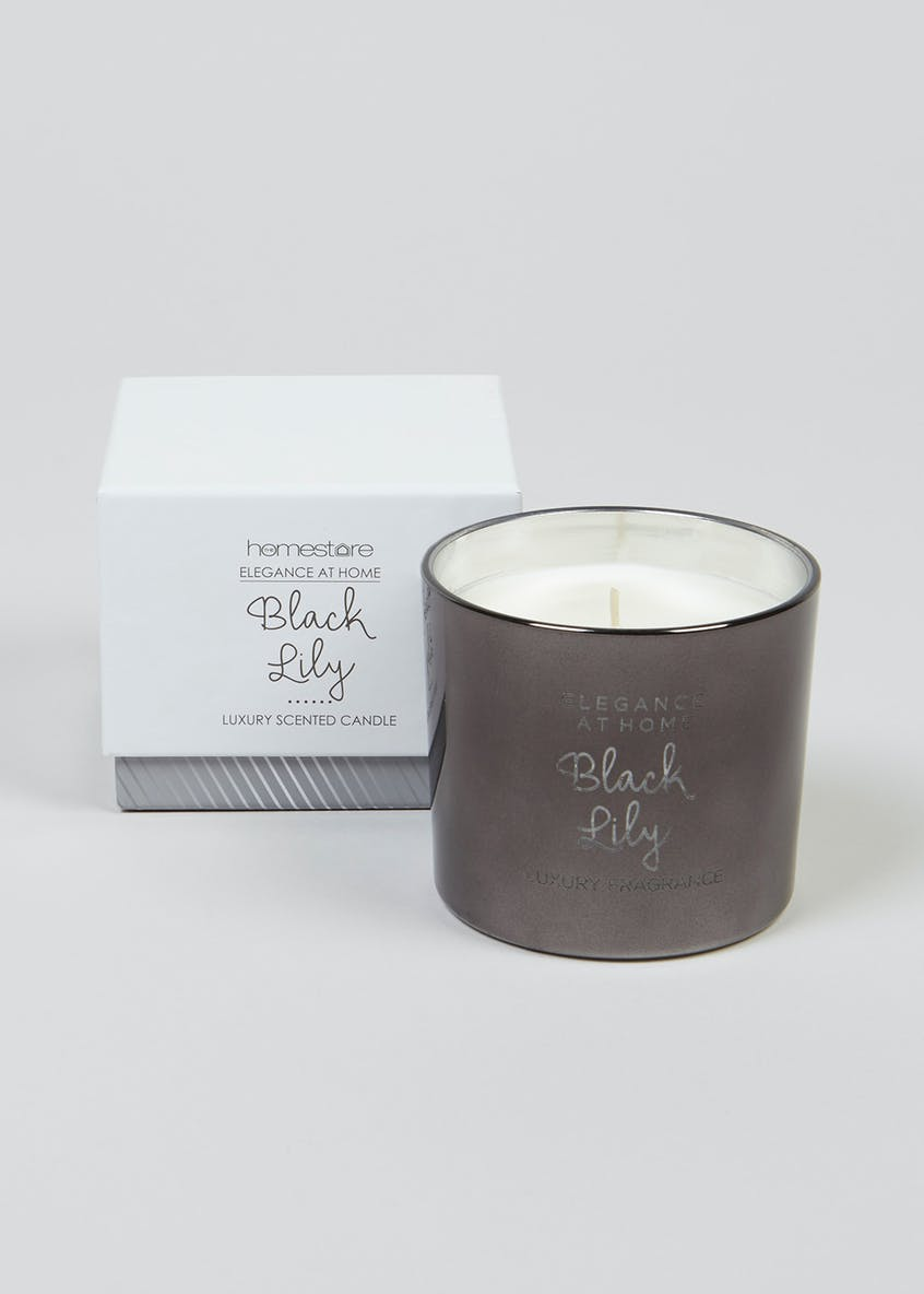 Boxed Black Lily Glass Candle (9cm x 8cm)