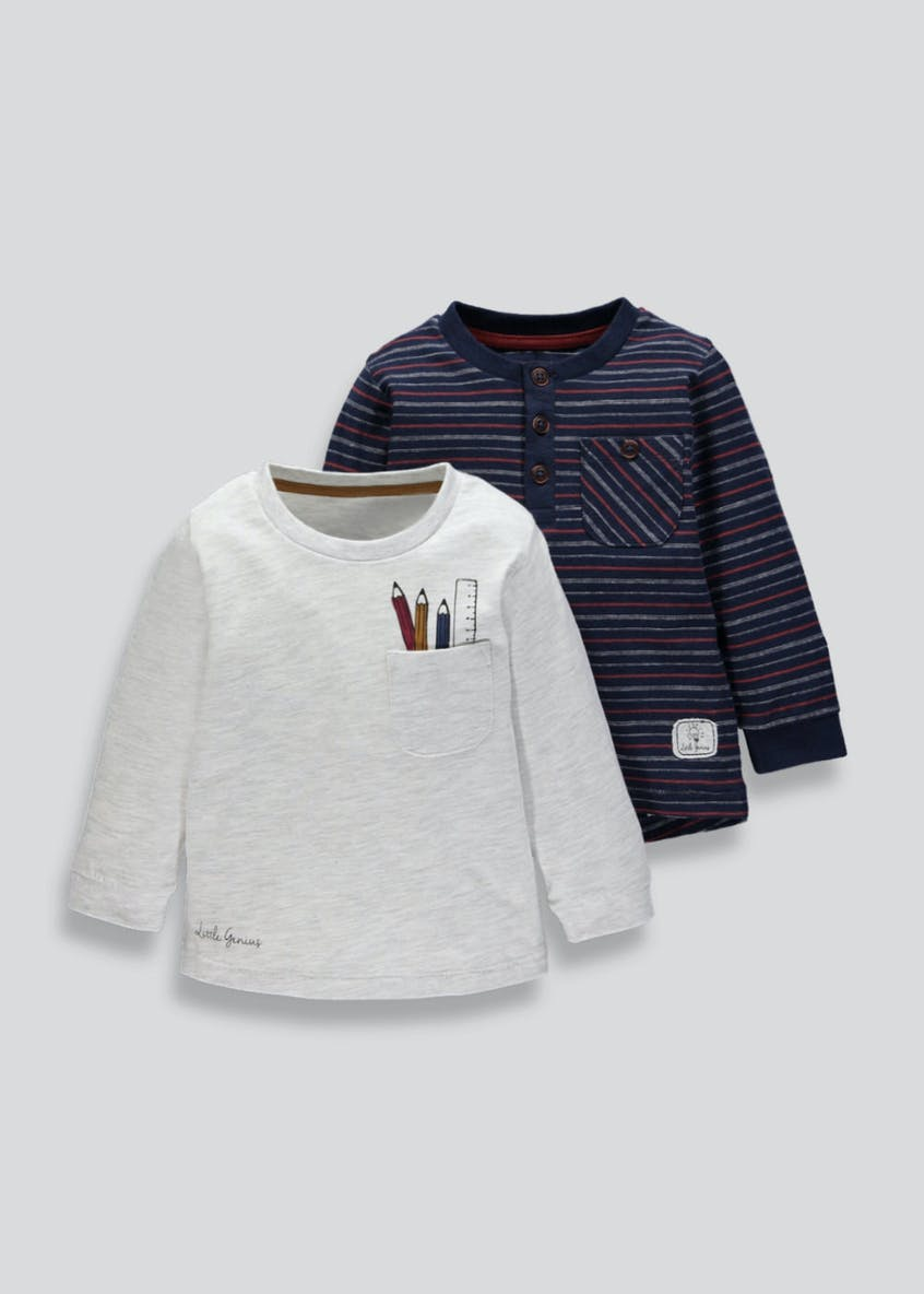 Boys 2 Pack Long Sleeve Jersey T-Shirts (6mths-5yrs)