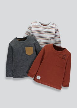 Boys 3 Pack Long Sleeve T-Shirts (3mths-6yrs)