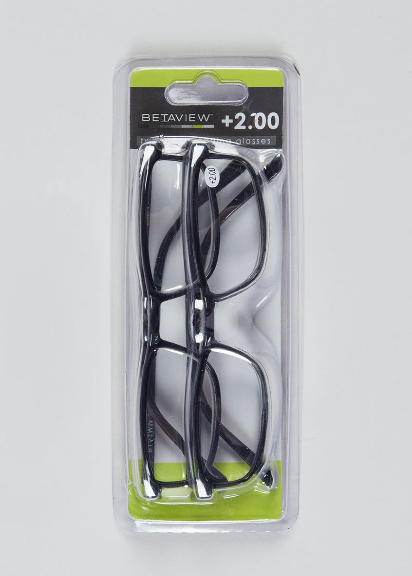Unisex 2 Pack Reading Glasses (+2.00)