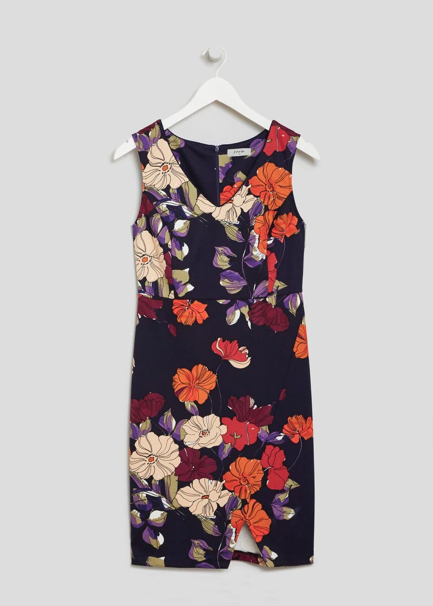 Soon Grace Floral Mock Wrap Dress - Navy