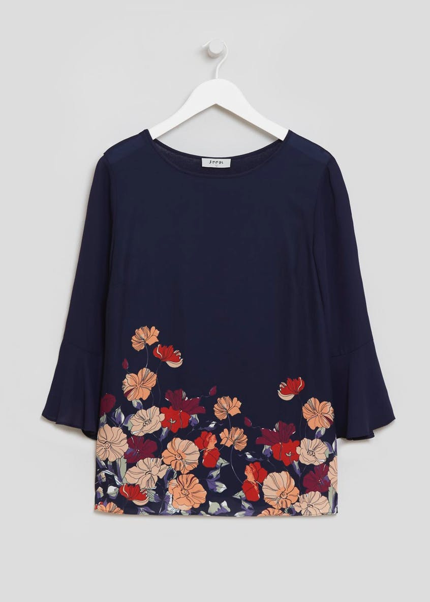 Soon Grace Floral Bell Sleeve Blouse