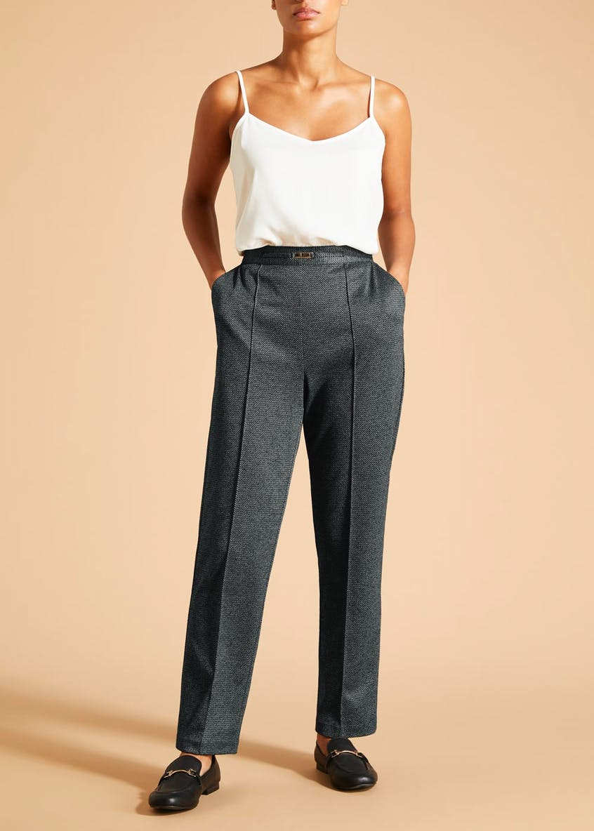 Textured Pleat Front Snaffle Trousers