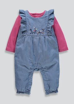 Girls Denim Dungarees & T-Shirt Set (Tiny Baby-18mths)