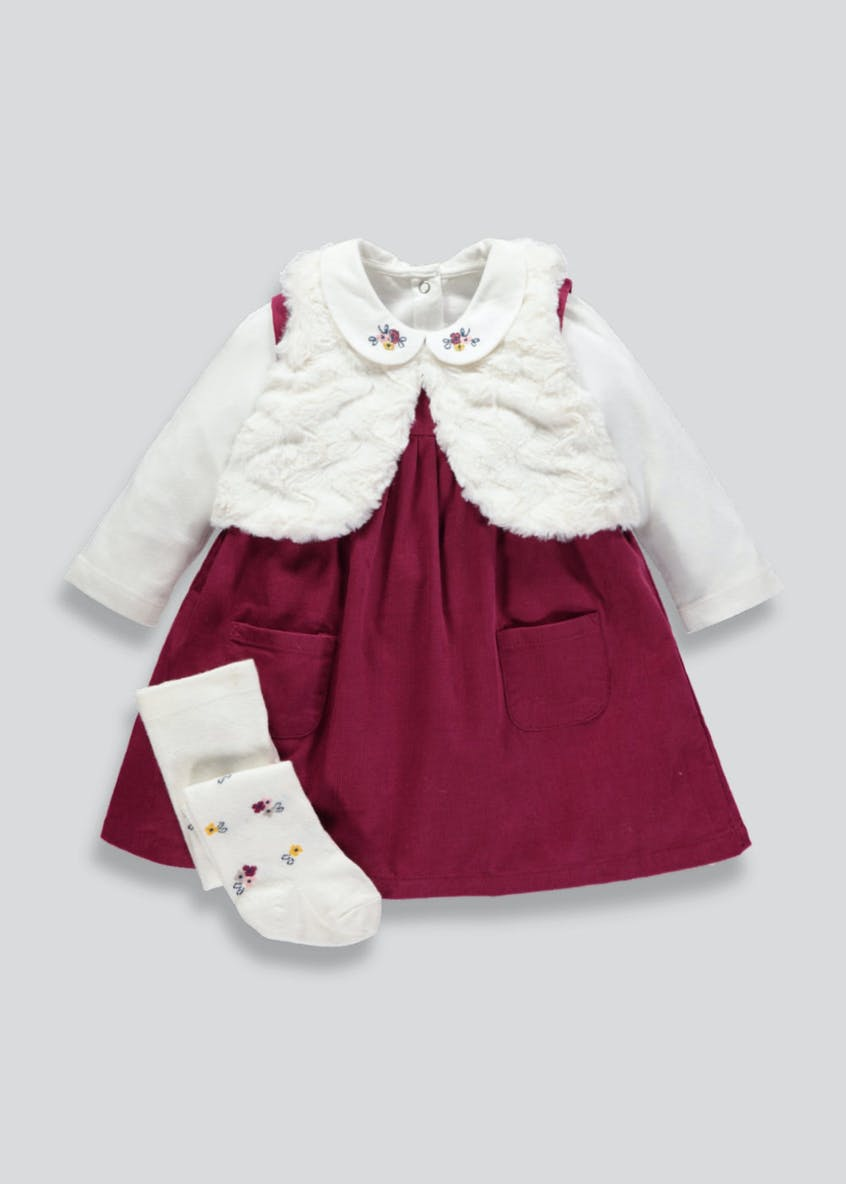 Girls Cord Dress Shrug T-Shirt & Tights Set (Newborn-18mths)